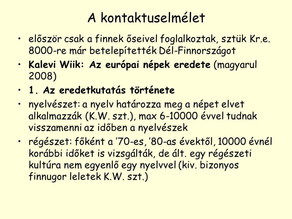 A kontaktuselmélet először csak a finnek őseivel foglalkoztak, sztük Kr.e. 8000-re már betelepítették Dél-Finnországot.
