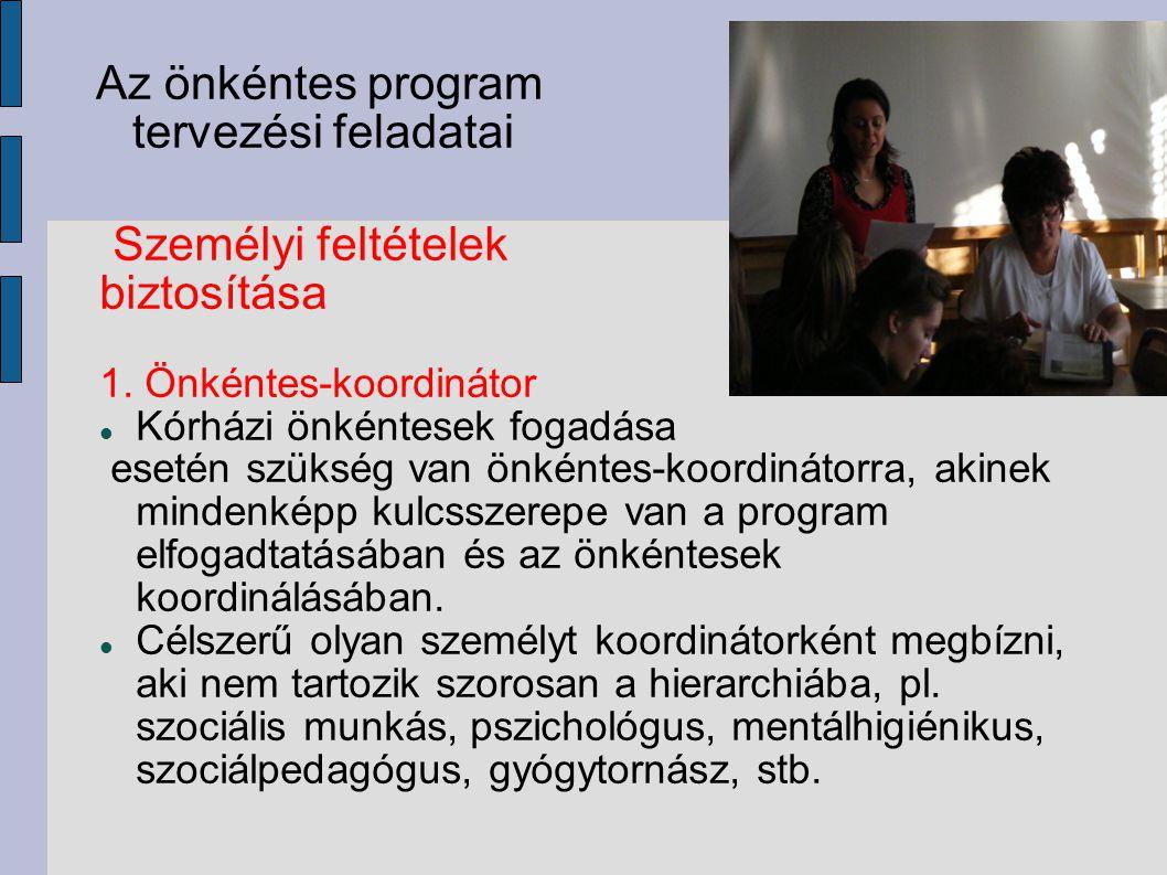 Az önkéntes program tervezési feladatai