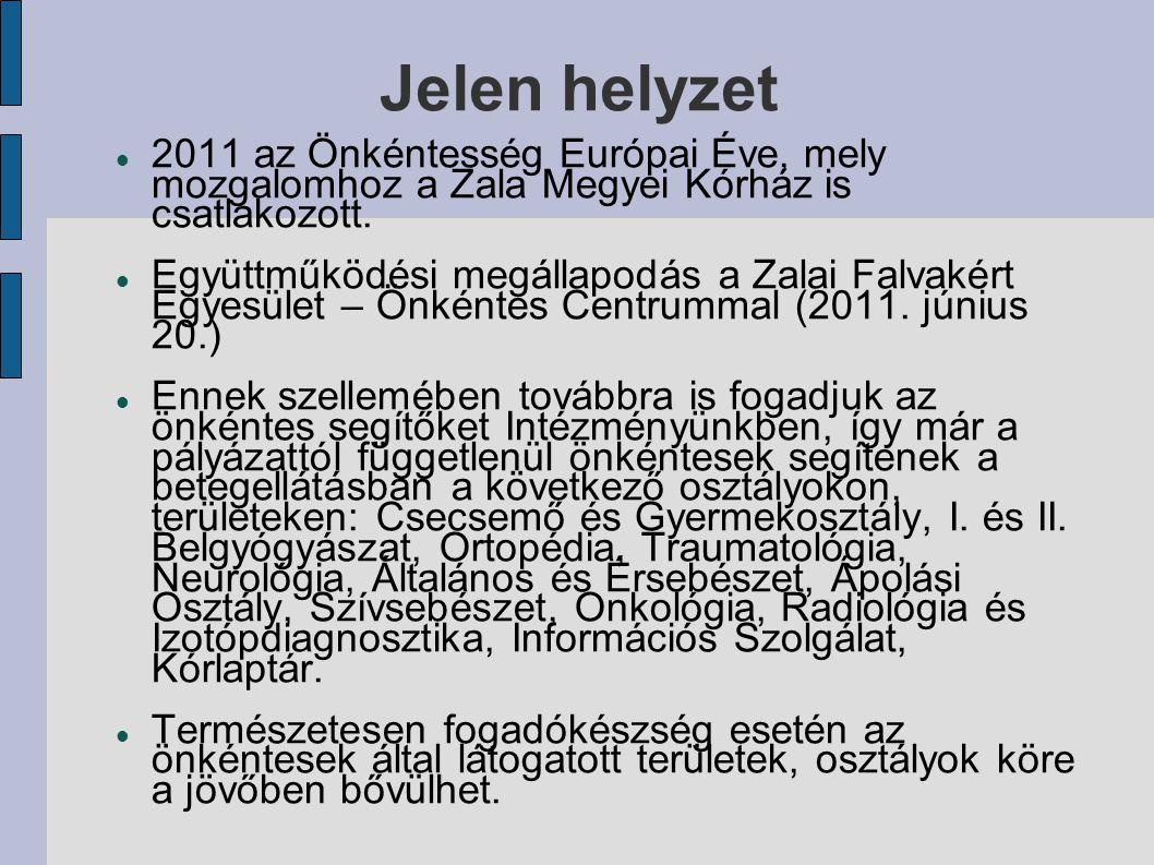 Jelen helyzet 2011 az Önkéntesség Európai Éve, mely mozgalomhoz a Zala Megyei Kórház is csatlakozott.