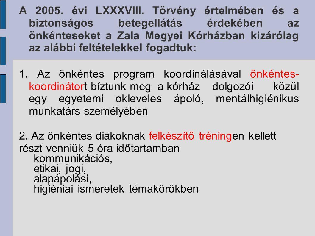 A 2005. évi LXXXVIII. Törvény értelmében és a biztonságos betegellátás érdekében az önkénteseket a Zala Megyei Kórházban kizárólag az alábbi feltételekkel fogadtuk: