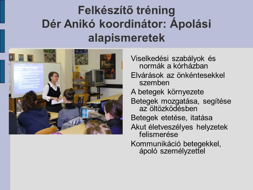 Felkészítő tréning Dér Anikó koordinátor: Ápolási alapismeretek