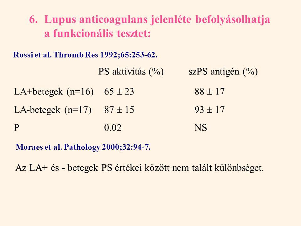 6. Lupus anticoagulans jelenléte befolyásolhatja a funkcionális tesztet: