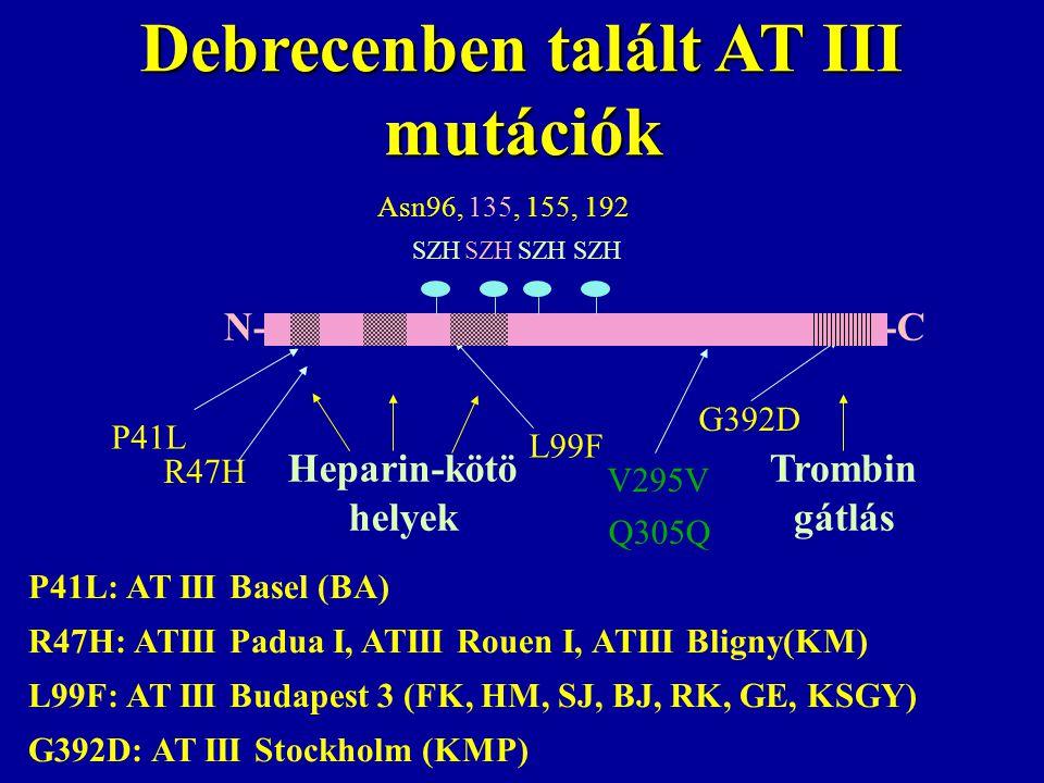 Debrecenben talált AT III mutációk