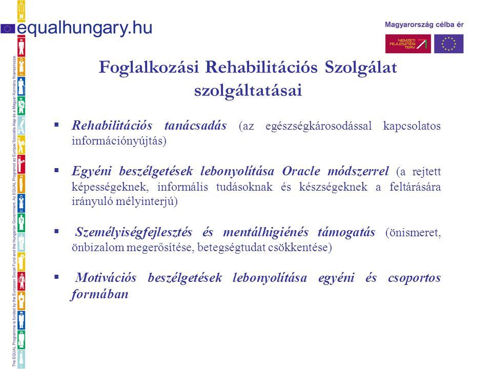 Foglalkozási Rehabilitációs Szolgálat szolgáltatásai