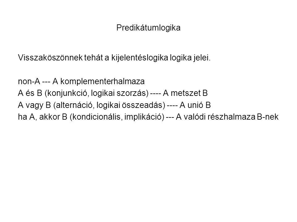 Predikátumlogika Visszaköszönnek tehát a kijelentéslogika logika jelei. non-A --- A komplementerhalmaza.
