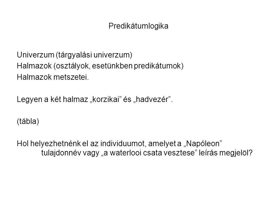 Predikátumlogika Univerzum (tárgyalási univerzum) Halmazok (osztályok, esetünkben predikátumok) Halmazok metszetei.