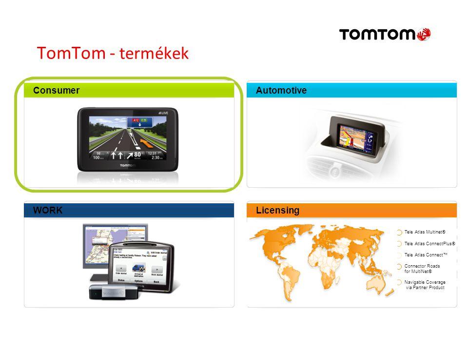 TomTom - termékek Consumer Automotive WORK Licensing