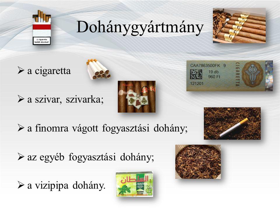 Dohánygyártmány a cigaretta a szivar, szivarka;