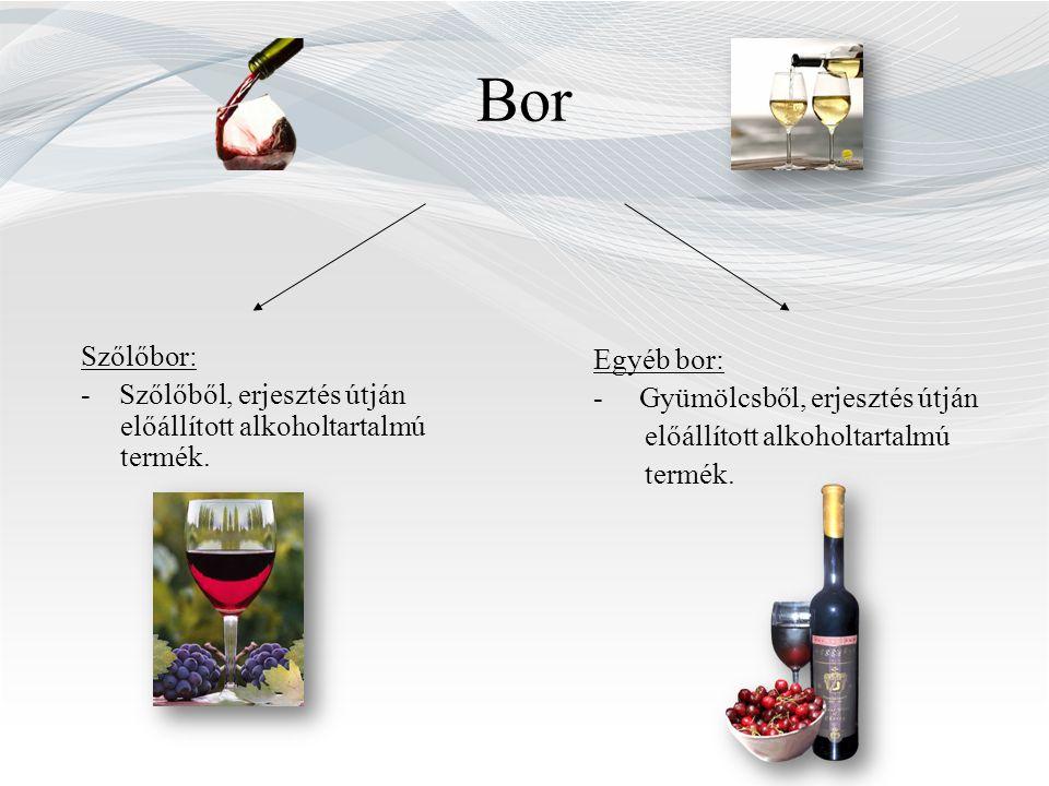 Bor Szőlőbor: - Szőlőből, erjesztés útján előállított alkoholtartalmú termék. Egyéb bor: - Gyümölcsből, erjesztés útján.