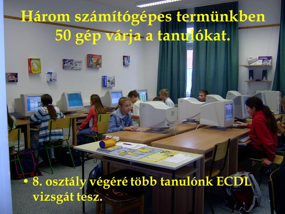 Három számítógépes termünkben 50 gép várja a tanulókat.