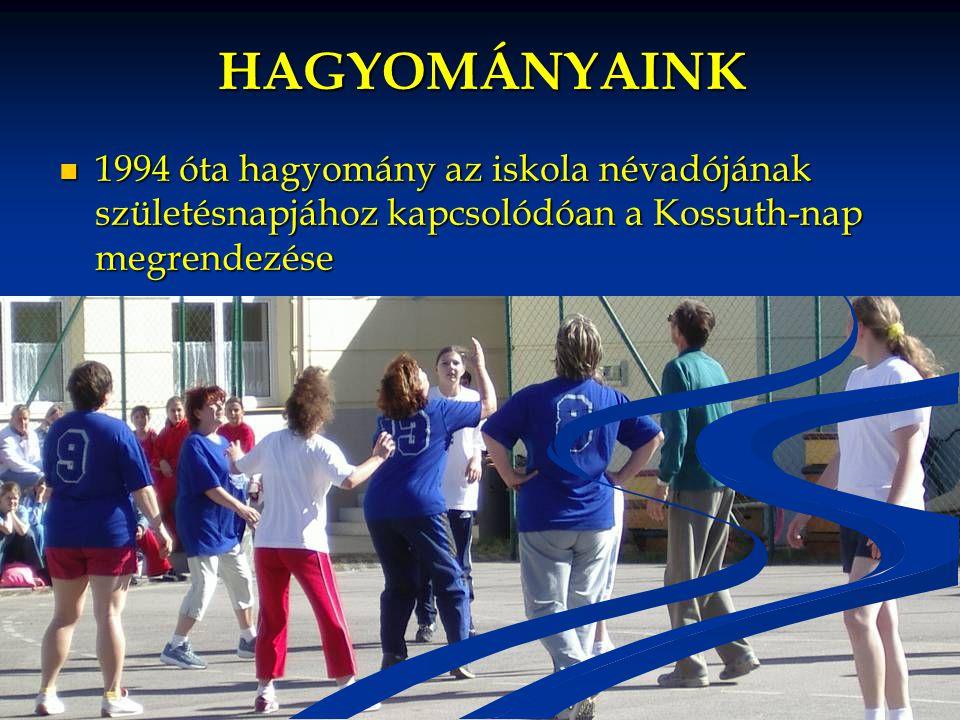 HAGYOMÁNYAINK 1994 óta hagyomány az iskola névadójának születésnapjához kapcsolódóan a Kossuth-nap megrendezése.