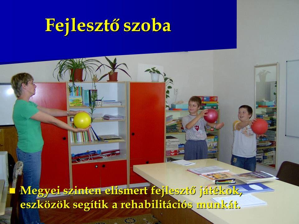 Fejlesztő szoba Megyei szinten elismert fejlesztő játékok, eszközök segítik a rehabilitációs munkát.
