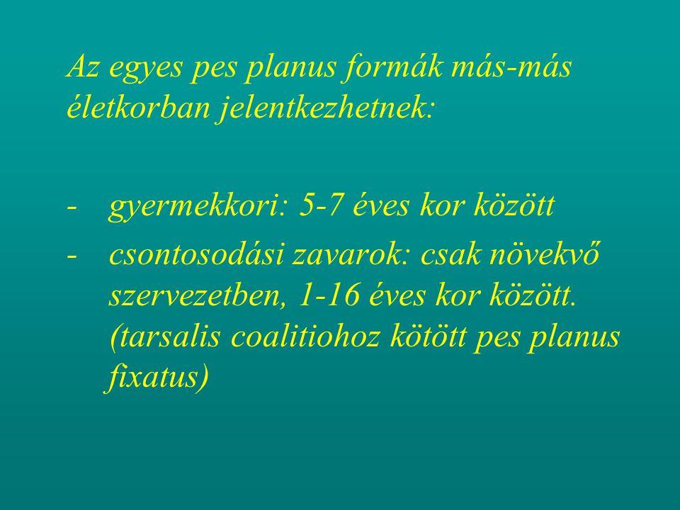 Az egyes pes planus formák más-más életkorban jelentkezhetnek: - gyermekkori: 5-7 éves kor között - csontosodási zavarok: csak növekvő szervezetben, 1-16 éves kor között.
