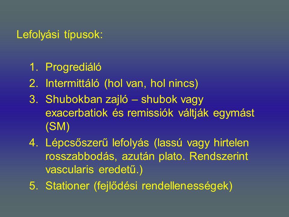 Lefolyási típusok: Progrediáló. Intermittáló (hol van, hol nincs) Shubokban zajló – shubok vagy exacerbatiok és remissiók váltják egymást (SM)