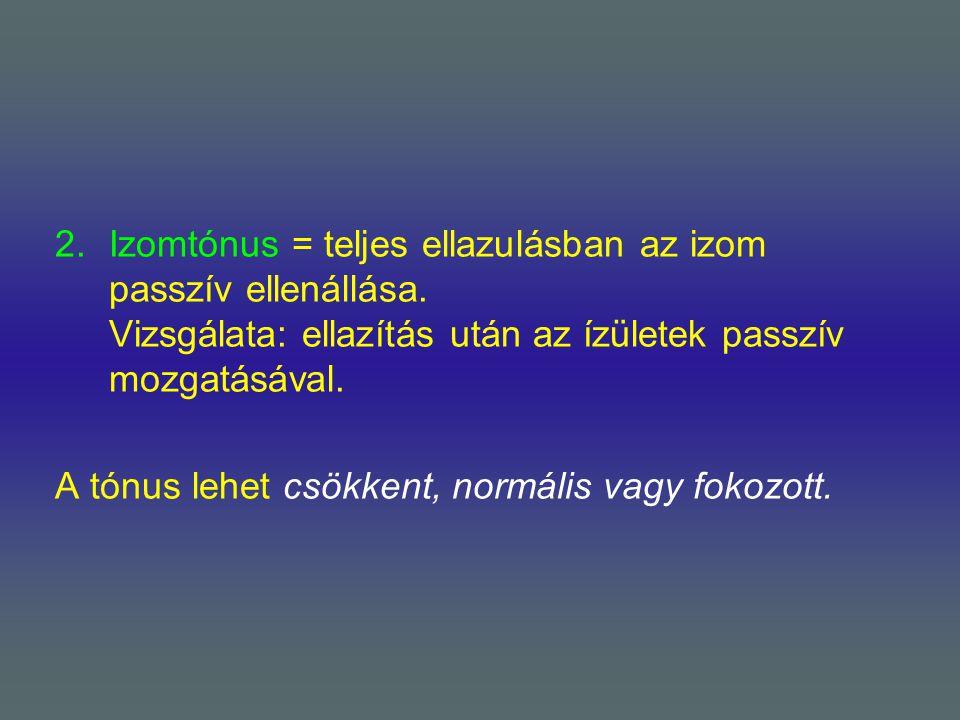 Izomtónus = teljes ellazulásban az izom passzív ellenállása