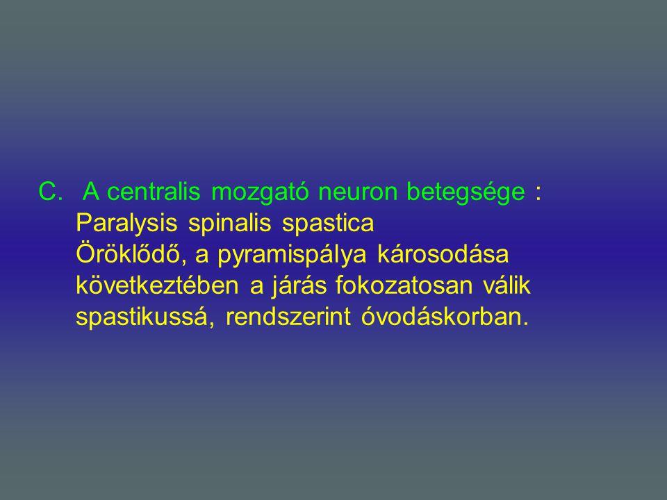 A centralis mozgató neuron betegsége : Paralysis spinalis spastica Öröklődő, a pyramispálya károsodása következtében a járás fokozatosan válik spastikussá, rendszerint óvodáskorban.
