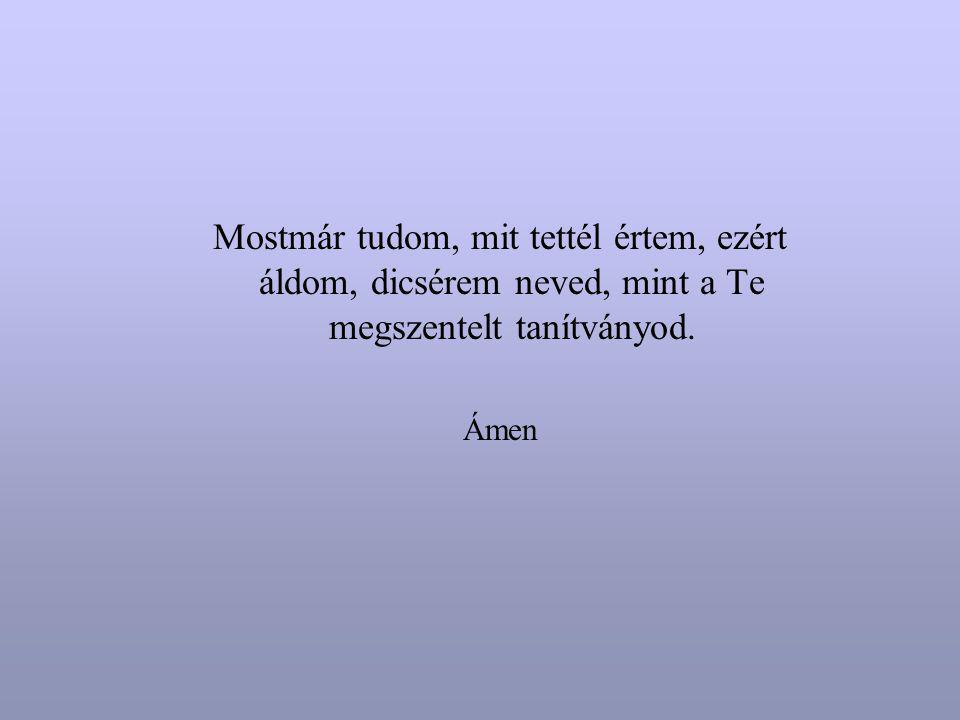 Mostmár tudom, mit tettél értem, ezért áldom, dicsérem neved, mint a Te megszentelt tanítványod.