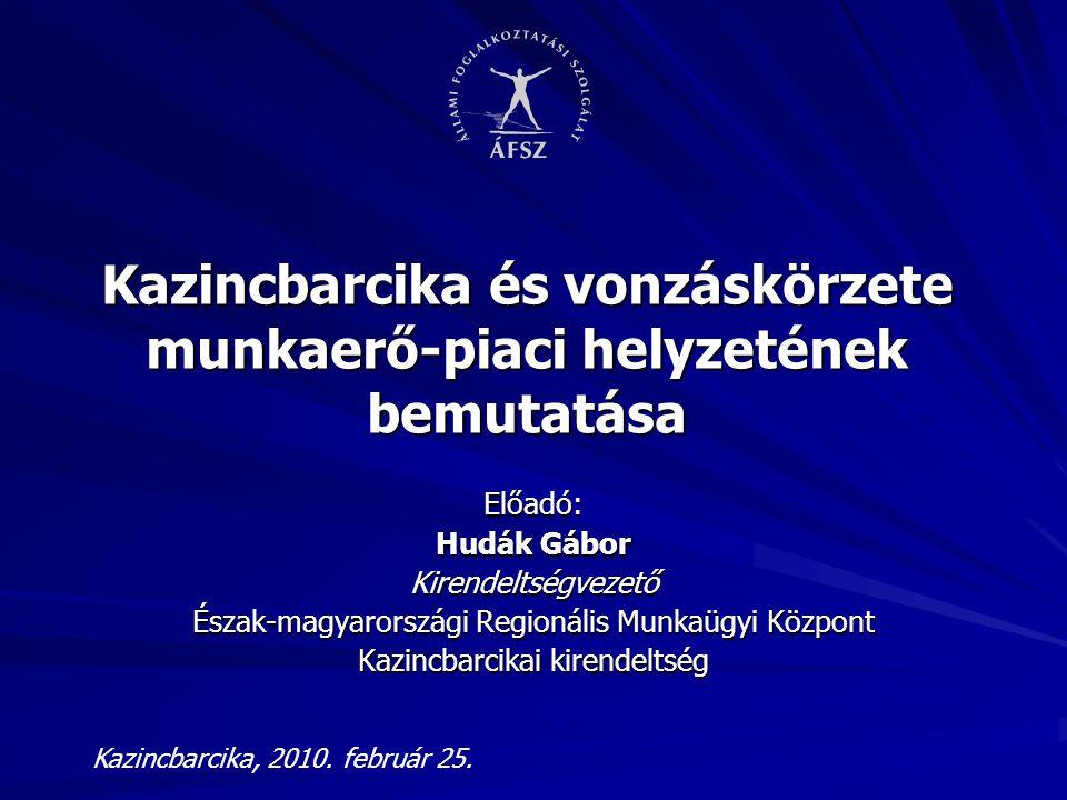 Kazincbarcika és vonzáskörzete munkaerő-piaci helyzetének bemutatása
