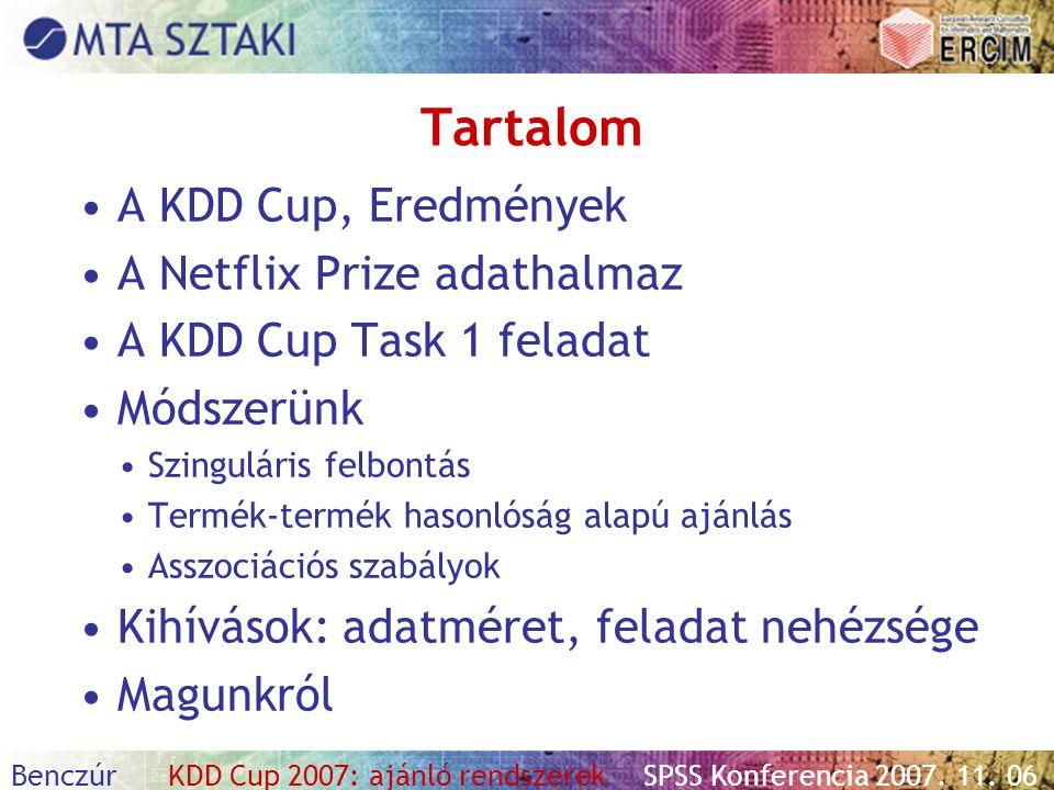 Tartalom A KDD Cup, Eredmények A Netflix Prize adathalmaz