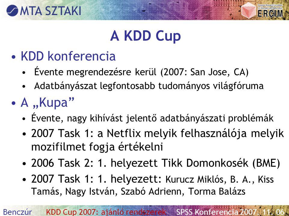 """A KDD Cup KDD konferencia A """"Kupa"""