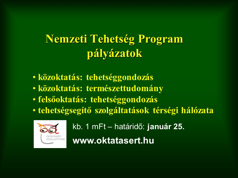 Nemzeti Tehetség Program pályázatok