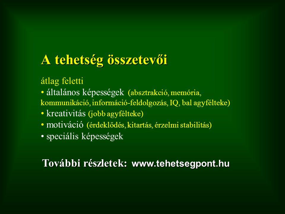 A tehetség összetevői További részletek: www.tehetsegpont.hu