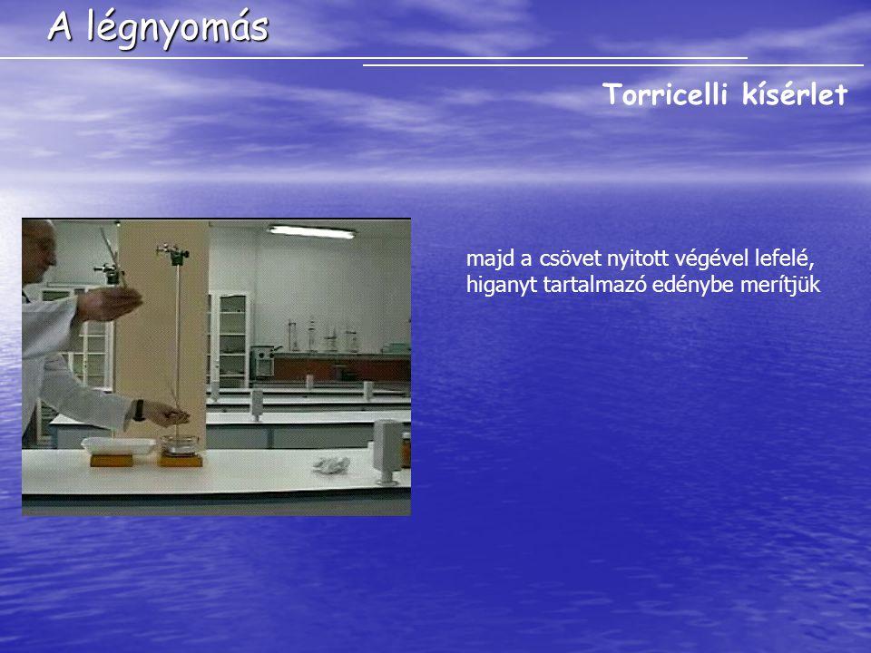 A légnyomás Torricelli kísérlet