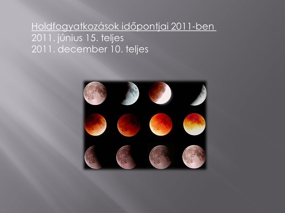Holdfogyatkozások időpontjai 2011-ben