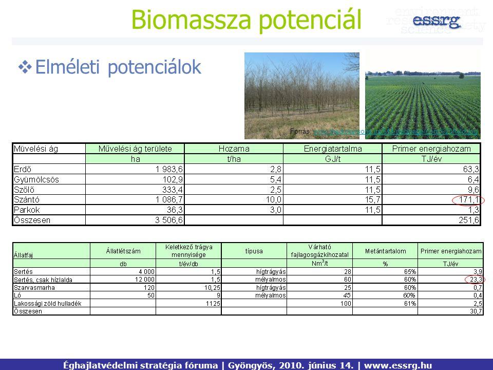 Biomassza potenciál Elméleti potenciálok