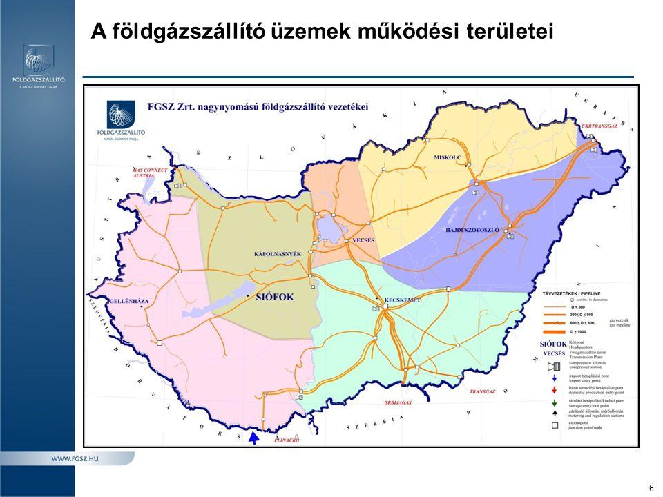 A földgázszállító üzemek működési területei