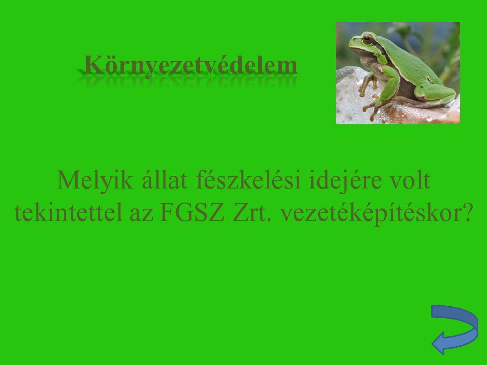 Környezetvédelem Melyik állat fészkelési idejére volt tekintettel az FGSZ Zrt. vezetéképítéskor