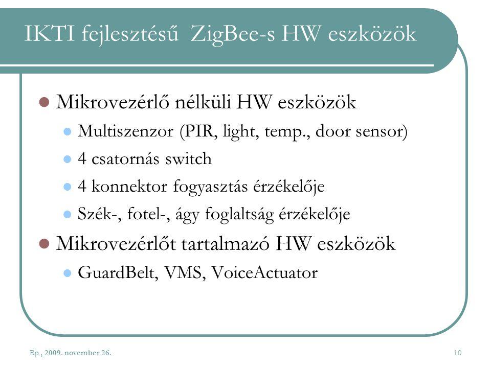 IKTI fejlesztésű ZigBee-s HW eszközök
