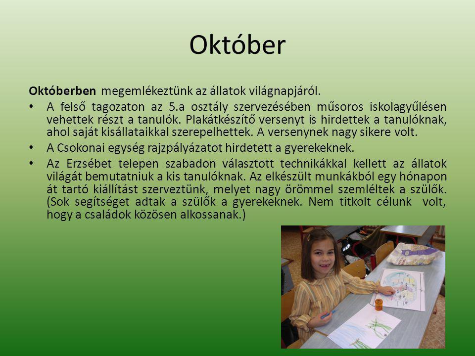 Október Októberben megemlékeztünk az állatok világnapjáról.