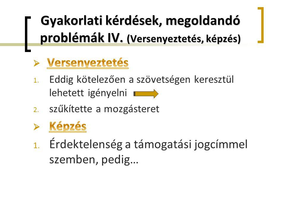 Gyakorlati kérdések, megoldandó problémák IV. (Versenyeztetés, képzés)