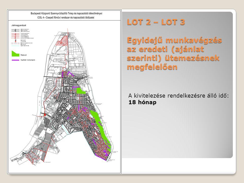 LOT 2 – LOT 3 Egyidejű munkavégzés az eredeti (ajánlat szerinti) ütemezésnek megfelelően