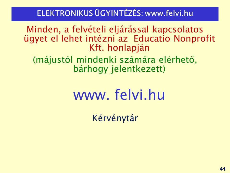 ELEKTRONIKUS ÜGYINTÉZÉS: www.felvi.hu
