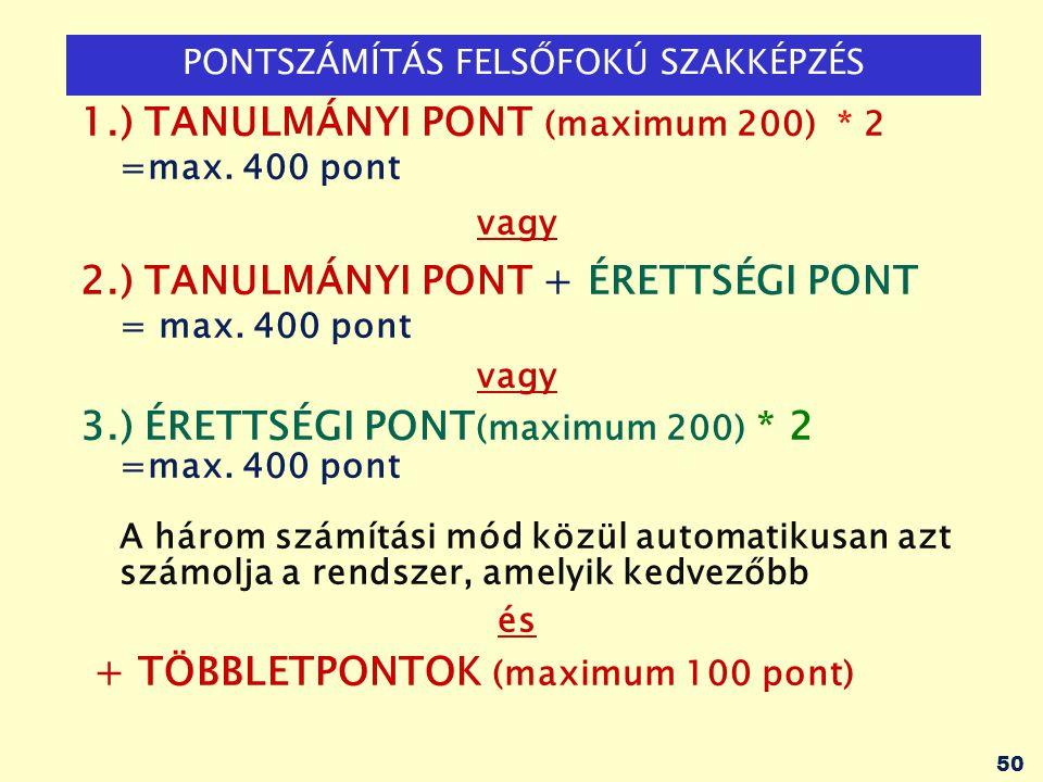 PONTSZÁMÍTÁS FELSŐFOKÚ SZAKKÉPZÉS