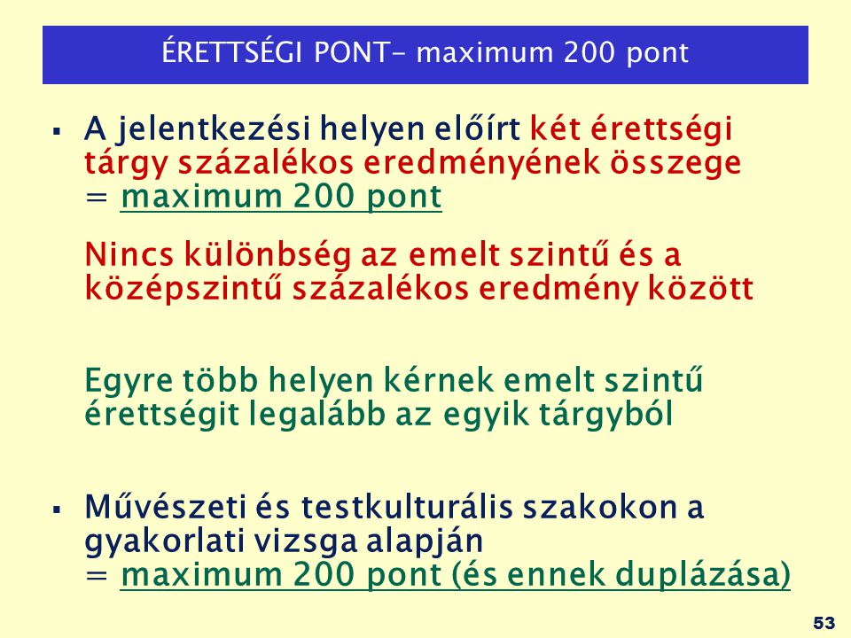 ÉRETTSÉGI PONT- maximum 200 pont