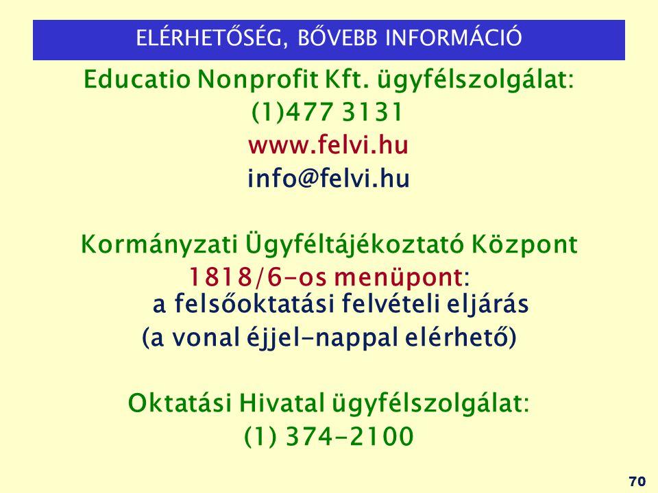 Educatio Nonprofit Kft. ügyfélszolgálat: (1)477 3131 www.felvi.hu