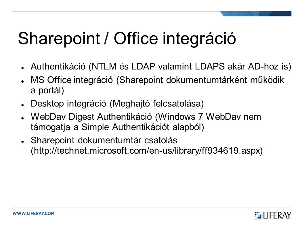 Sharepoint / Office integráció