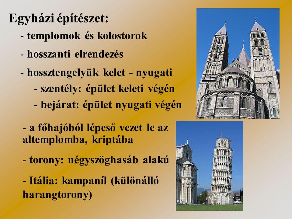 Egyházi építészet: templomok és kolostorok hosszanti elrendezés