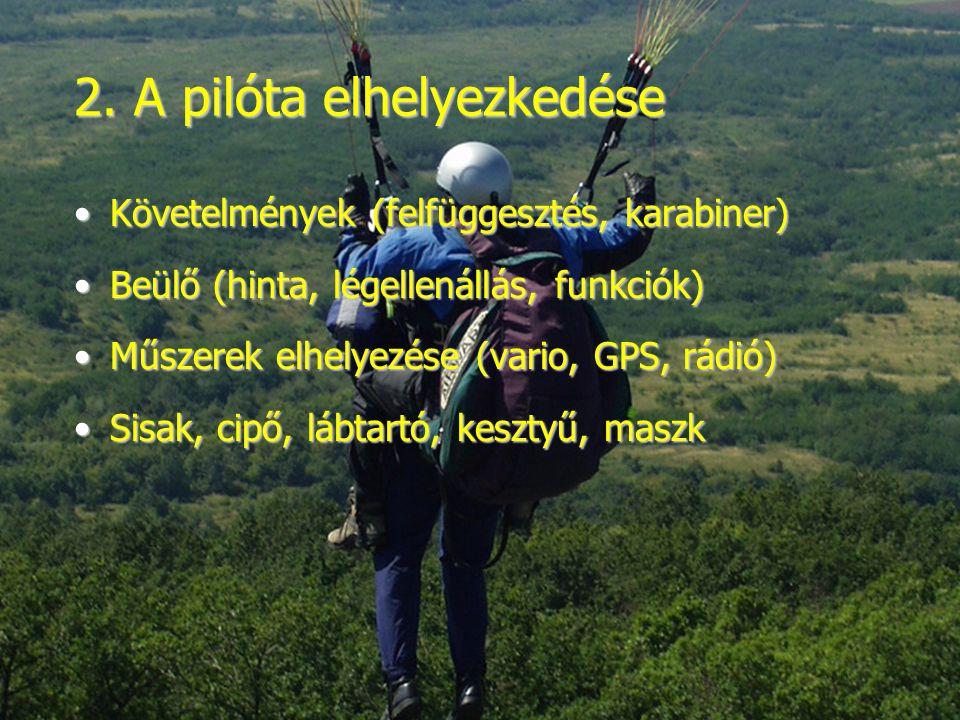 2. A pilóta elhelyezkedése