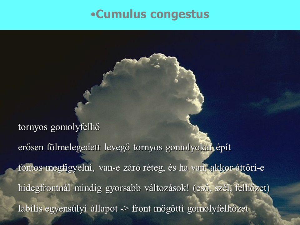 Cumulus congestus tornyos gomolyfelhő