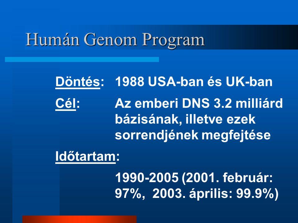 Humán Genom Program Döntés: 1988 USA-ban és UK-ban