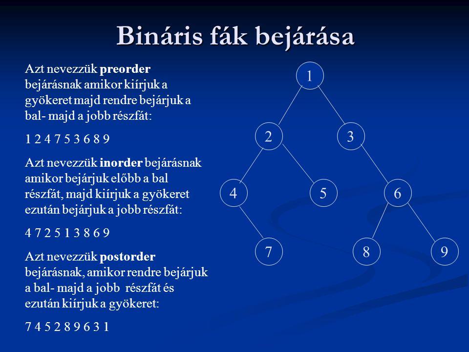 Bináris fák bejárása Azt nevezzük preorder bejárásnak amikor kiírjuk a gyökeret majd rendre bejárjuk a bal- majd a jobb részfát: