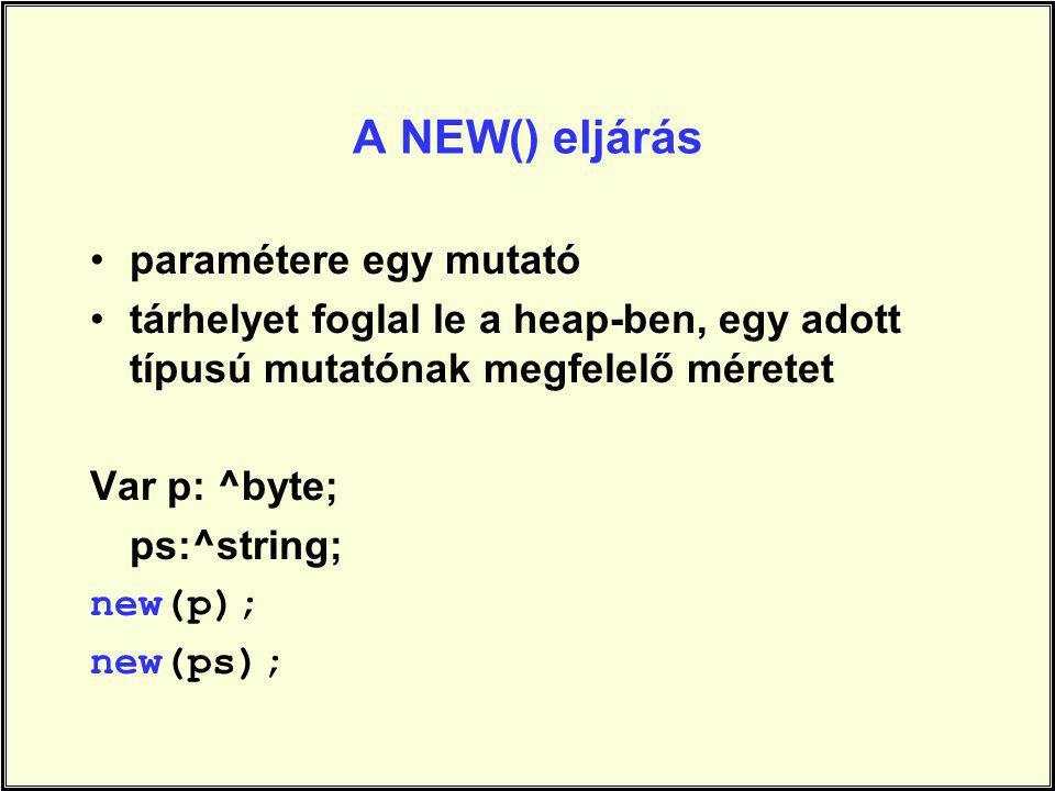 A NEW() eljárás paramétere egy mutató