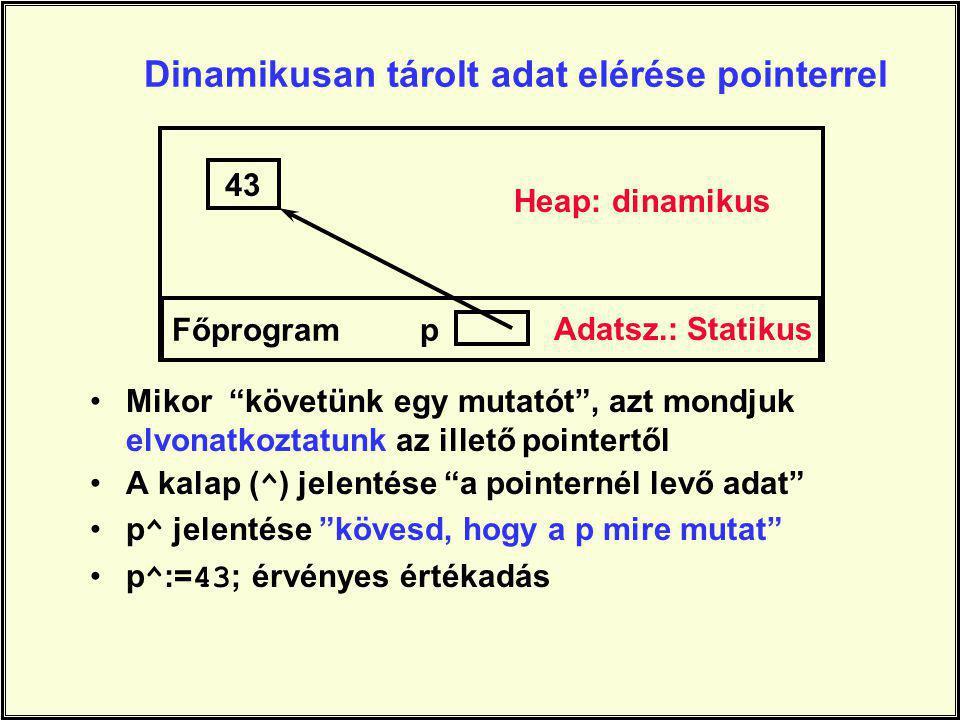 Dinamikusan tárolt adat elérése pointerrel
