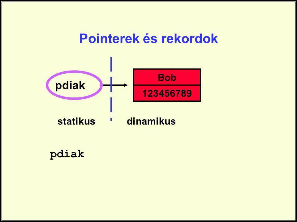 Pointerek és rekordok Bob pdiak 123456789 statikus dinamikus pdiak