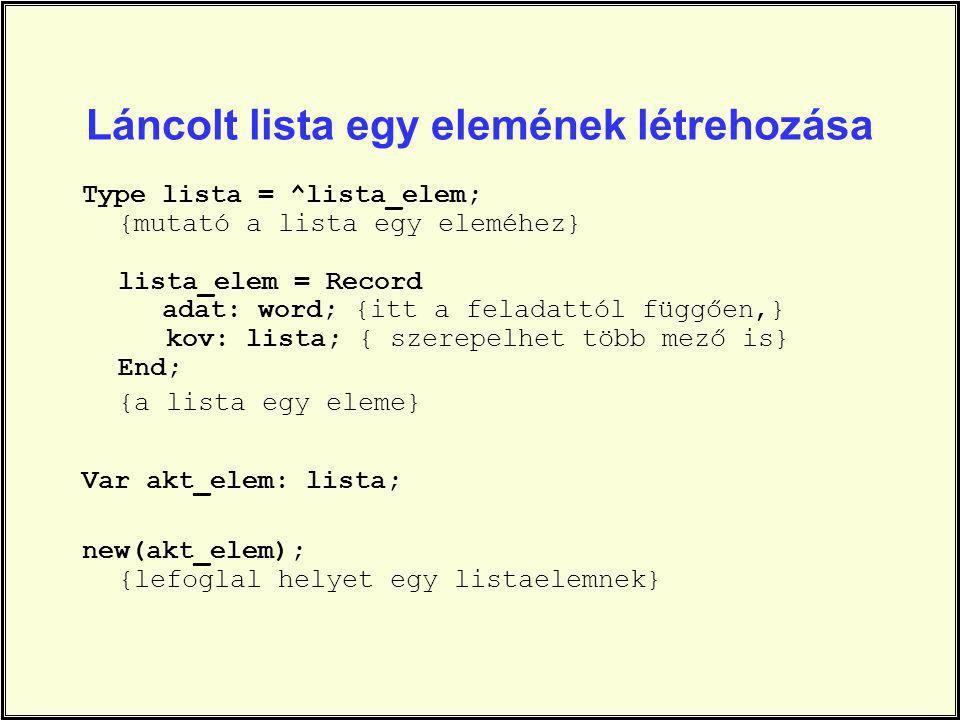 Láncolt lista egy elemének létrehozása