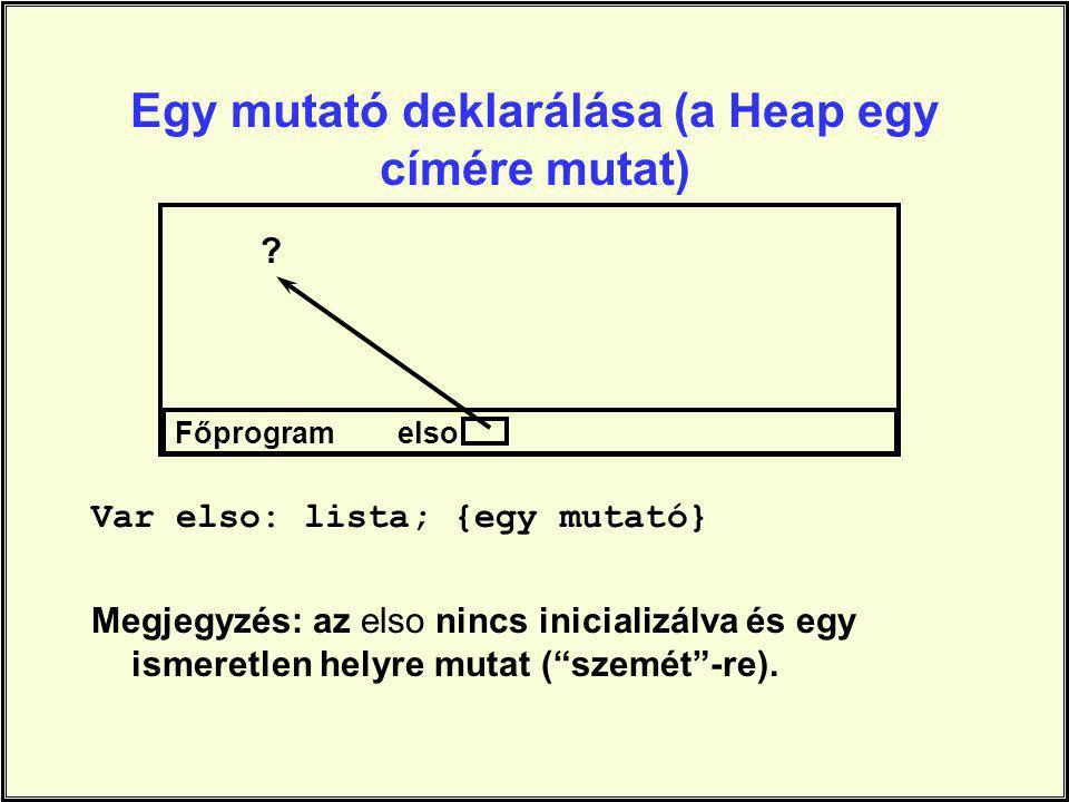 Egy mutató deklarálása (a Heap egy címére mutat)